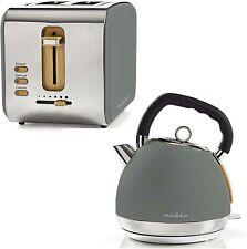 Design Frühstücksset Toaster + Wasserkocher Holz Design + Edelstahl grau Retro