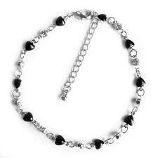 Black Heart Enamel Chain Clear Rhinestone Anklet