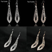 Fashion Women Rhinestone Crystal Ear Hook Drop Dangle Earrings Wedding Jewelry