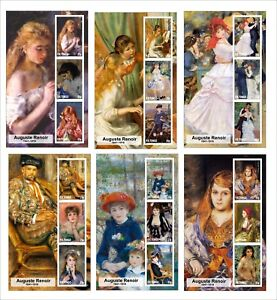 2015 AUGUSTE RENOIR 6 SOUVENIR SHEETS MNH UNPERFORATED ART PAINTINGS