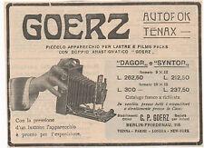 Pubblicità 1909 GOERZ DAGOR SYNTOR FOTO PHOTO advert werbung publicitè reklame