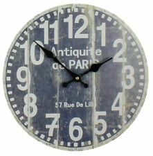 """DISTRESSED RUSTIC VINTAGE STYLE ROUND WALL CLOCK """"ANTIQUITE DE PARIS"""" FRENCH"""