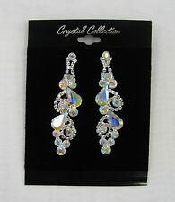 Silver Iridescent Clear Rhinestone Crystal Dangle Earrings Wedding Prom Pageant