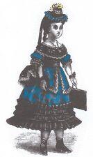 """Doll Period walking Dress PATTERN size 14""""-16""""  German Freanch Happer's Bazar"""