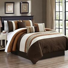 7 Piece Markos Embossed and Pleated Comforter Set Bed-In-A-Bag (Queen, Brown)