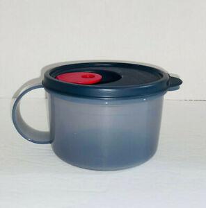 BLACK Gray Tupperware Crystalwave Microwave 2 Cup Soup Bowl Stew Mug Work