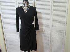 Glamour Dress,Women Petite,10P, NWT, Black front drape from rhinestone ring