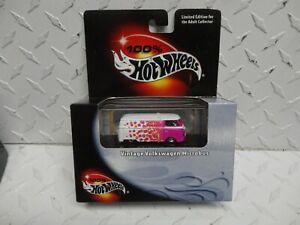 Hot Wheels 100% Pink/White Vintage Volkswagen Micro Bus w/Real Riders