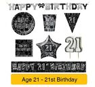 21 AÑOS - 21st Cumpleaños Negro y plateado Glitz - Fiesta Pancartas,
