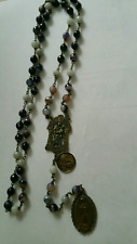 St. Joseph Chaplet. Antique Bronze medals. Amethyst 8mm beads.