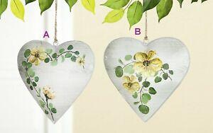 Gilde Deko-Herz Dekohänger Blumen Metall 3D 16cm x 15cm grün gelb