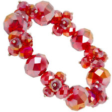 NEW Red Aurora Borealis Crystal Bead Sparkle Cluster Stretch Bracelet