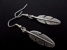 A PAIR OF TIBETAN SILVER FEATHER DANGLY EARRINGS. NEW..