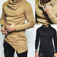 Fashion Men's Slim Fit Irregular Long Sleeve Muscle Tee T-shirt Tops Blouse