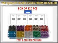 120PCS VAUXHALL CAR/VAN VEHICLE MEDIUM BLADE FUSES BOX *5 10 15 20 25 30 AMP*
