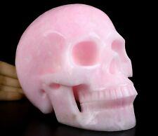 "Lifesized 7.0"" PINK ARAGONITE  Carved Crystal Skull, Realistic, Crystal Healing"