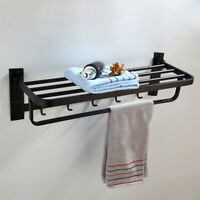 Wall Mount Stainless Steel Bathroom Towel Rack Bar Holder Cloth Hook Shelf Black