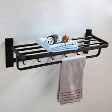 Black Bathroom Towel Rail | Stainless Steel Foldable Rack Shelf & Hooks