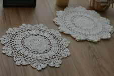"Set 6 White 12"" Round Floral Crochet Lace Doilies Wedding Lot"