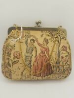 Vintage JR Julius Resnick USA Tapestry Hand Bag Purse Floral Courting Couple