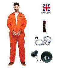 Mens ORANGE PRISONER COSTUME Convict Halloween Zombie Fancy Dress Ladies Boys UK