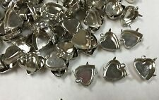 Heart settings silver plated for jewelry making pendants charms lot of 100