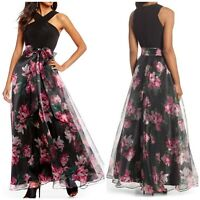 NEW! Eliza J Midnight Floral Twist Neck Tulle Lined Organza Maxi Dress Gown 6