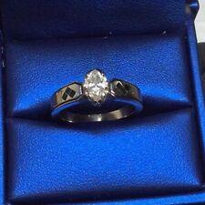 Wedding Engagement Ring 14K Diamond White Gold (Batman & Harley Quinn Ring)