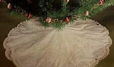 "Vtg Christmas Tree Skirt Embroidery Kit Tablecloth 42"" Round Bells White Shabby"