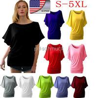 US Plus Size Fashion Womens Summer Vest Short Blouse Casual Tank Tops T-Shirt