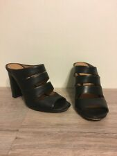Women's Black Leather Artur Chiang High Heels Sandals Size 7 1/2M, Classy!
