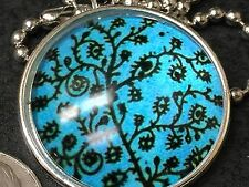 "Tree of Life Charm Tibetan Silver with 18"" Necklace T6 Cool Water Blue"