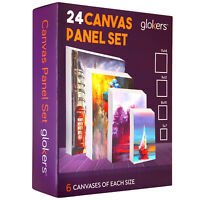 Glokers Paint Canvas Panels Set - 24 Primed Art Canvases for Painting - SEE DESC