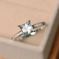 14K Solid White Gold 1.30 Ct Princess Cut Natural Diamond Aquamarine Ring M