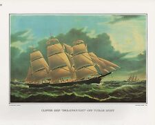 "1972 Vintage Currier & Ives ""CLIPPER SHIP DREADNOUGHT"" Color Print Lithograph"