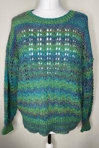 Home Knit Handmade Multicoloured Jumper Size L Rainbow Unique