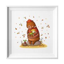 004 Kinderzimmer Bild Bär Herbst Poster Plakat quadratisch 20 x 20 cm (ohne Rahm