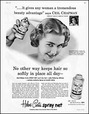1954 Ceil Chapman fashion Helene Curtis spray net vintage photo print Ad adL48
