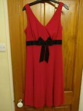 Next Ladies Red Dress with black bow detail size 10