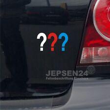 Drei Fragezeichen Aufkleber 7x4cm S076 für Auto Notebook Handy - Weiß Rot Blau