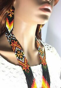 HANDCRAFTED ETHNIC NATIVE STYLE MULTI-COLOR BEADED  NECKLACE EARRINGS SET S58/3