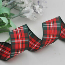 """1"""" 25 mm 5Y Red Color Tartan Plaid Ribbon Bows Appliques Sewing Crafts"""