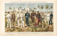 UNIFORM der Schutztruppe DOA Deutsch Ostafrika Kolonien   LITHOGRAPHIE von 1892