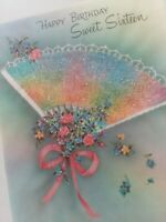 Vtg SWEET SIXTEEN Norcross RAINBOW Glitter FAN Parchment BIRTHDAY GREETING CARD