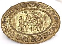 """Oval Brass Plate Plaque Huge 25""""Lx19""""H High Relief Old Hammered Pub Scene"""