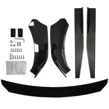 Universal Front Bumper Lower Lip Spoiler Body Kit+74.5cm Side Skirt Rocker Panel