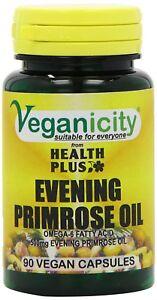 A Veganicity 500mg Vegan Evening Primrose Oil Women's Health Supplement Pack Of