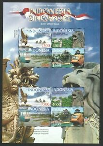 INDONESIA 2009 TOURIST ATTRACTIONS SINGAPORE JOINT ISSUE SOUVENIR SHEET 8 STAMPS
