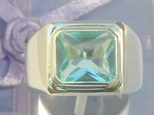 11x9 mm 925 Sterling Silver March Aqua Marine Stone Solitaire Men Ring Size 12