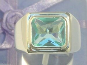 11x9 mm 925 Sterling Silver March Aqua Marine Stone Solitaire Men Ring Size 7